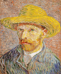 Self-Portrait with a Straw Hat (1887) by Vincent Van Gogh. Original from the MET Museum. Digitally enhanced by rawpixel.
