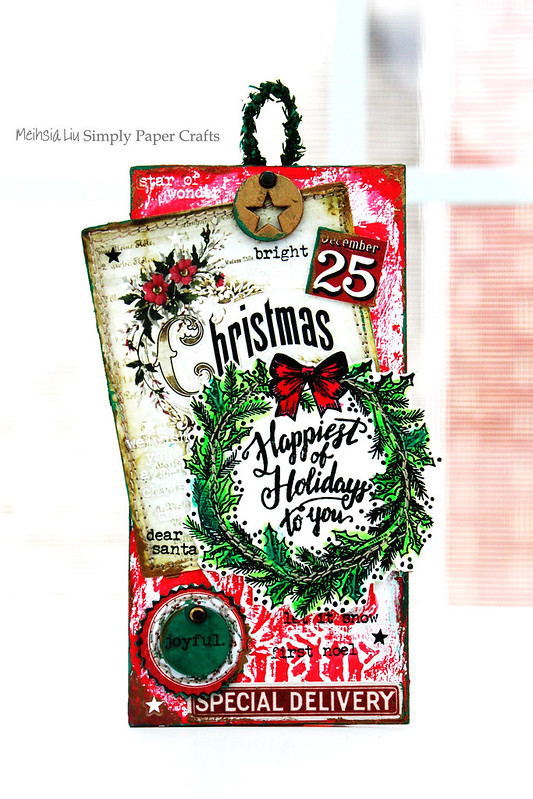 Meihsia Liu Simply Paper Crafts Mixed Media ChristmasTag Stitch It Up Tim Holtz Simon Says Stamp 1