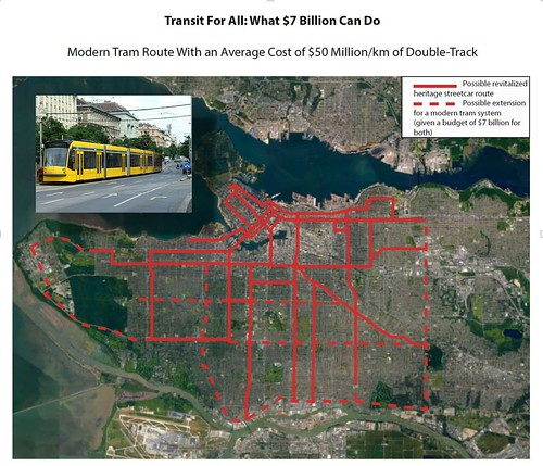 A tram network could be built to serve Vancouver for $7 billion (Canadian)