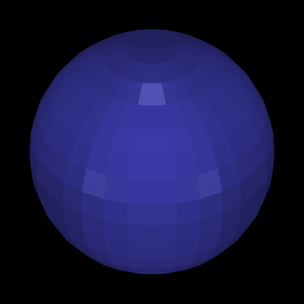 A sphere made of triangles (.obj file): before smoothing