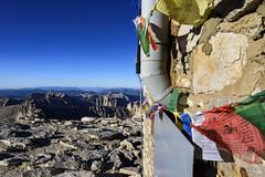 Tibetan prayer flags on Mount Whitney summit shelter