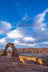Delicate Arch in Arches National Park in Utah during a sunrise