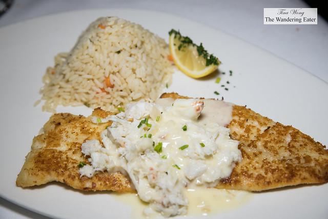 Snapper Hemingway - Parmesan encrusted, lump crab & lemon shallot butter, coconut ginger rice