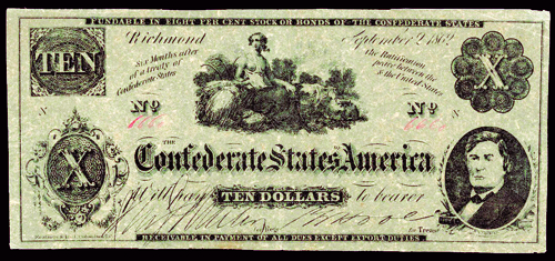 Confederate $10 contemporary counterfeit note