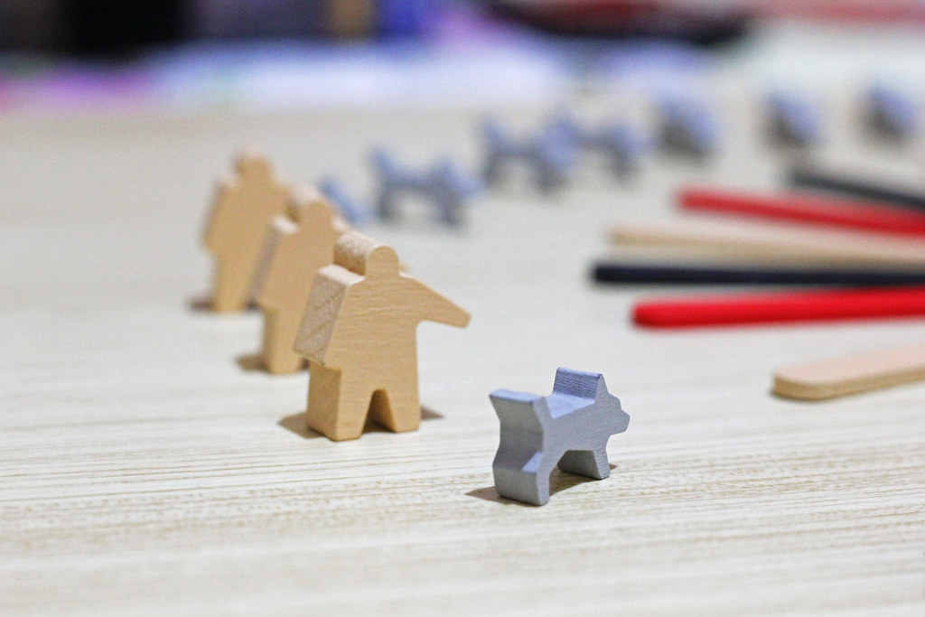 Here Comes the Dog - Villager and Dog Meeples