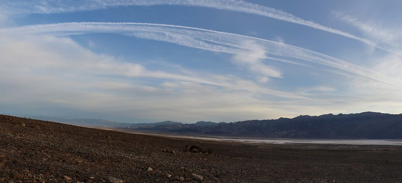 Wide panorama view north over Death Valley from Hanaupah Canyon Road