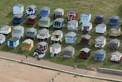 Tankerton Beach huts in Whitstable - aerial image