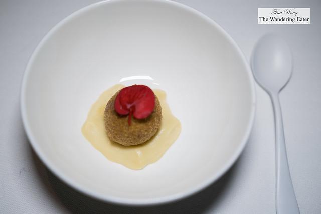 Croquette with anchovy cream and glass of Contadi Castaldi x Bu:r Eugenio Boer 'Soulsaten' Franciacorta 2012