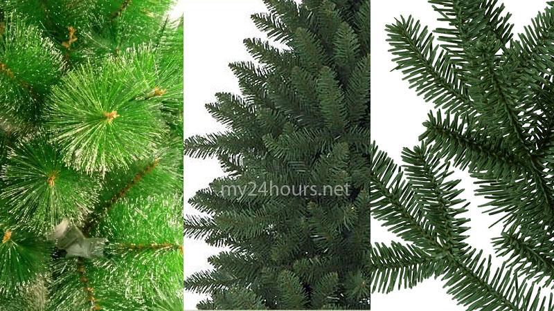Jenis cabang pohon Natal: sikat botol (kiri), kerucut (tengah), sulur (kanan)