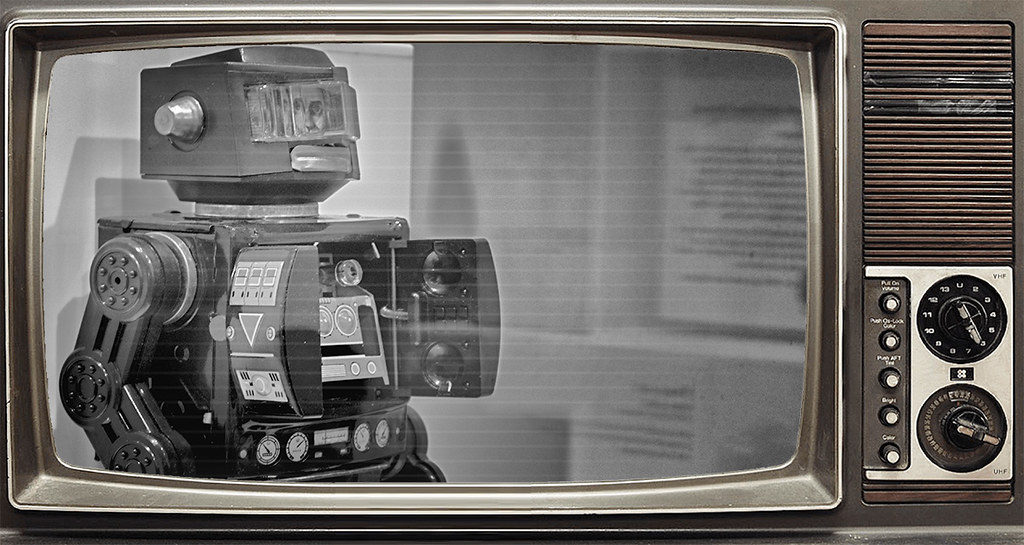 robot toy, black and white television