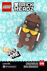 Go Brick Me, Gingerbread Man -BrickHeadz Style Ornament