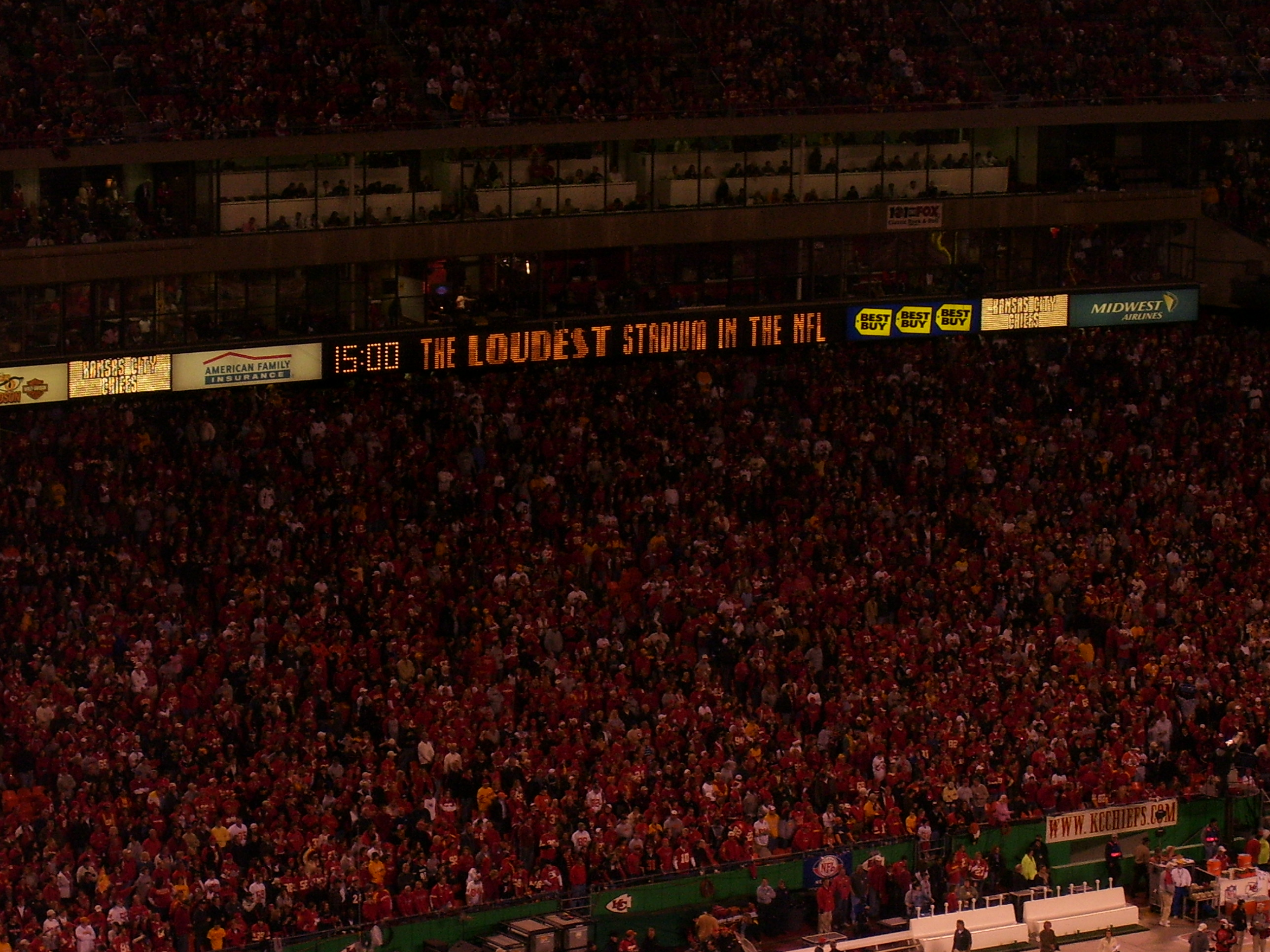 Since September 2014, Chiefs fans have been recognized by Guinness World Records as the loudest fan base in the world among outdoor stadiums.
