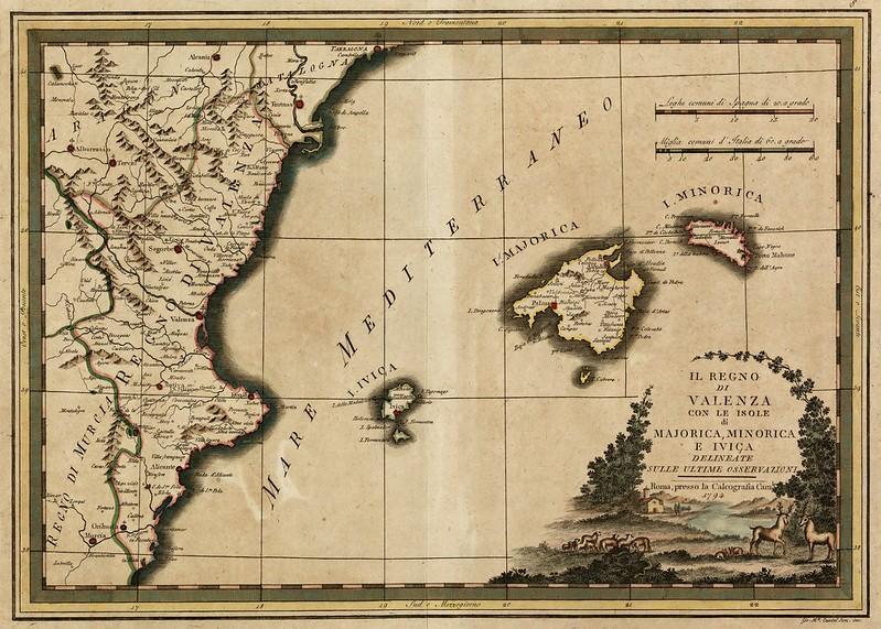 Giovanni Maria Cassini - Il regno di Valenza con le Isole di Majorica, Minorica e Iviça (1794)