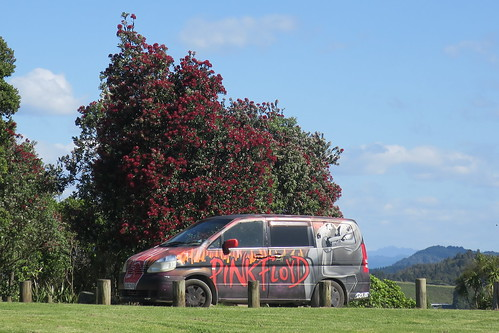 Whakatane lookout with a scenic view of our Pink Floyd campervan and a pohutukawa tree