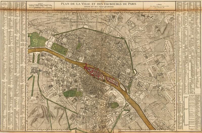 Gilles Robert de Vaugondy - Plan de la Ville et des Faubourgs De Paris Divise en ses Vingt Quartiers