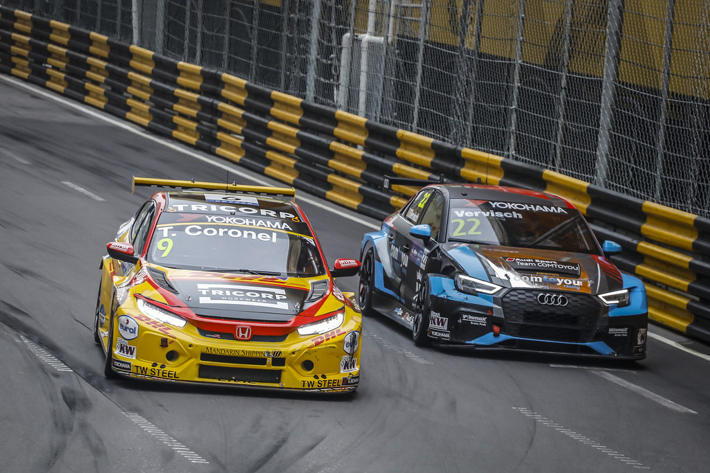 09 CORONEL Tom, (nld), Honda Civic TCR team Boutsen Ginion racing, action 22 VERVISCH Frederic, (bel), Audi RS3 LMS TCR team Comtoyou Racing, action during the 2018 FIA WTCR World Touring Car cup of Macau, Circuito da Guia, from november  15 to 18 - Photo Francois Flamand / DPPI