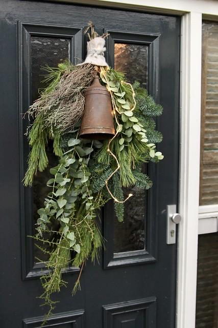 Kerst voordeur festoen landelijk