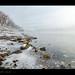 Sesto Calende, atmosfera di neve e nebbia