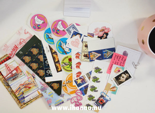 Pink Happy Mail - stickers, stamps and ephemera