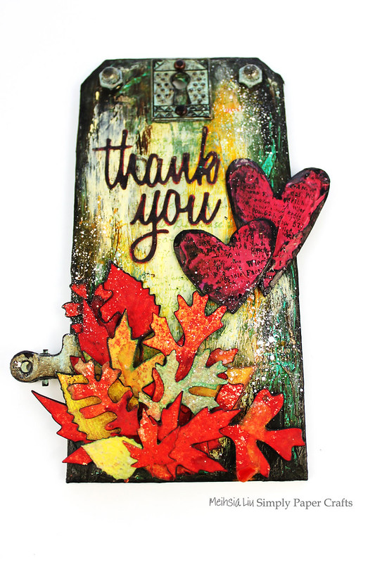 Meihsia Liu Simply Paper Crafts Mixed Media Tag Thank You Fall Thanksgiving Simon Says Stamp Tim Holtz 2