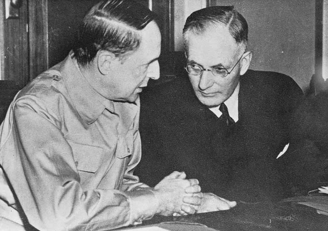 Australian Prime Minister John Curtin and U.S, General Douglas MacArthur meet at Parliament House on March 26, 1942, source: NAA A1200, L36449.