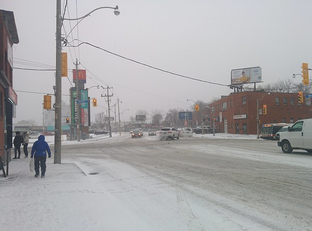 Looking west at Dupont and Dufferin, first snow (1) #toronto #dupontstreet #dufferinstreet #winter #white #snow