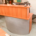 Cherry and silver curved reception counter E125