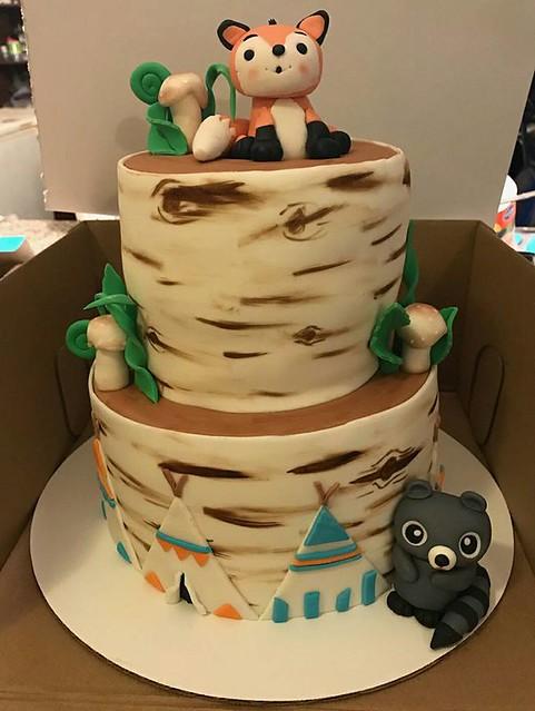 Woodland Theme Baby Shower Cake by Marcie's Custom Cakes