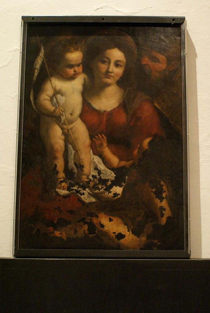 """Madonna col Bambino, San Giovannino e Sant Eligio Vescovo"" (1640) de Pellegro Piola au musée des Beaux Arts de Gènes."