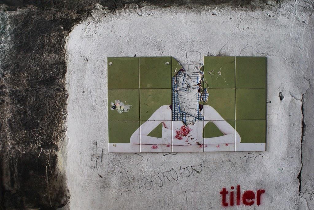Oeuvre de street art détruite (qu'est ce qu'elle représentait ?) par Tiler à Gènes.