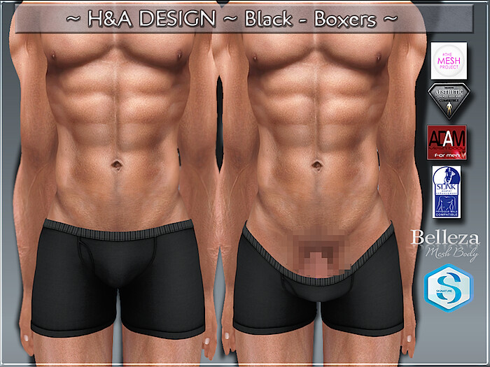 [H&A Designs]-Black Boxers