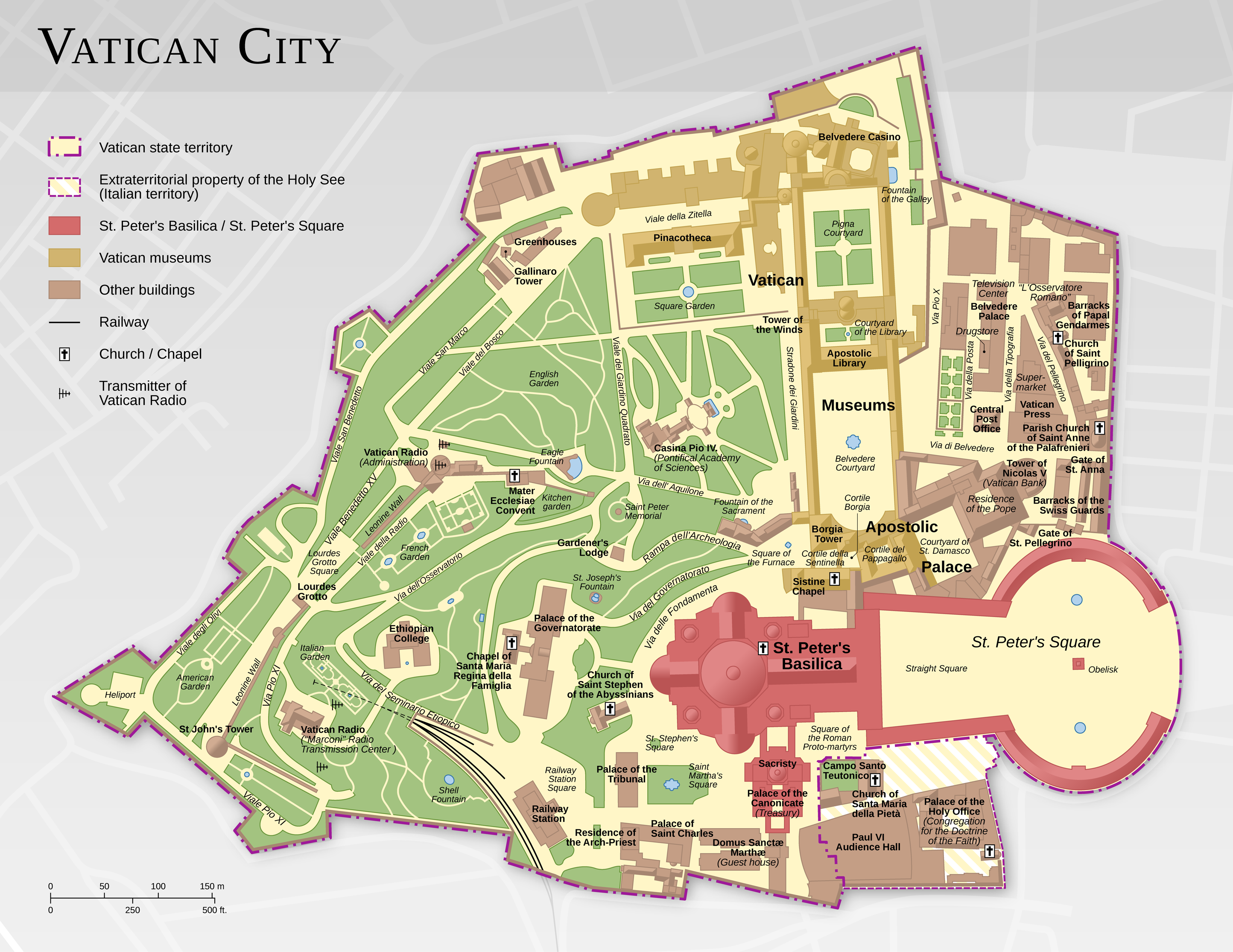 Map of Vatican City, highlighting notable buildings and the Vatican gardens.