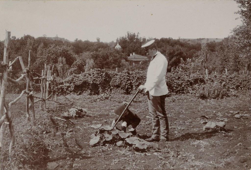 Граф Д.С. Шереметев и его сын Сергей в огороде