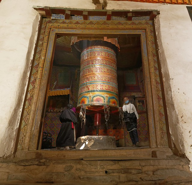 The big prayer wheel of Sershul monastery, Tibet 2018