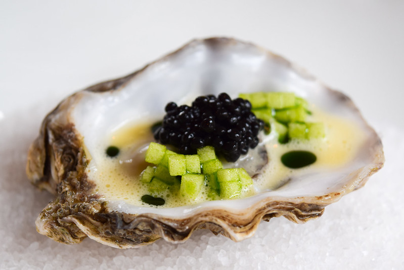 Poached Whitstable Rock Oyster with Caviar, Apple and Kentish Cider Butter at the Fordwich Arms, Canterbury