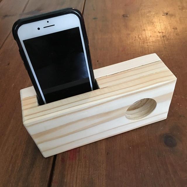 iPhone passive speaker/amplifier from scrap wood.