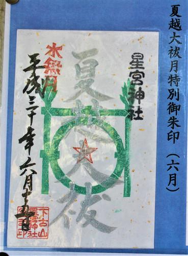 下野星宮神社「夏越大祓月限定」の御朱印(6月)