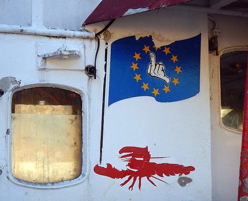 A boat from Grebbestad in Sweden give the EU the finger