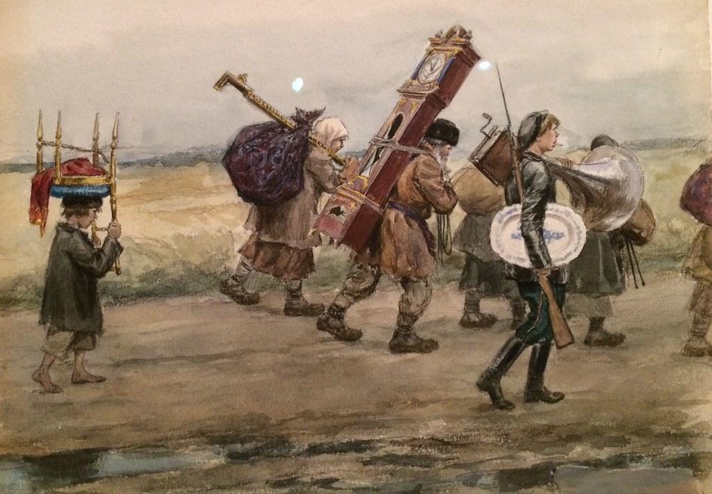 1919. Крестьяне возвращаются после разграбления помещичьей усадьбы (окрестности Пскова)