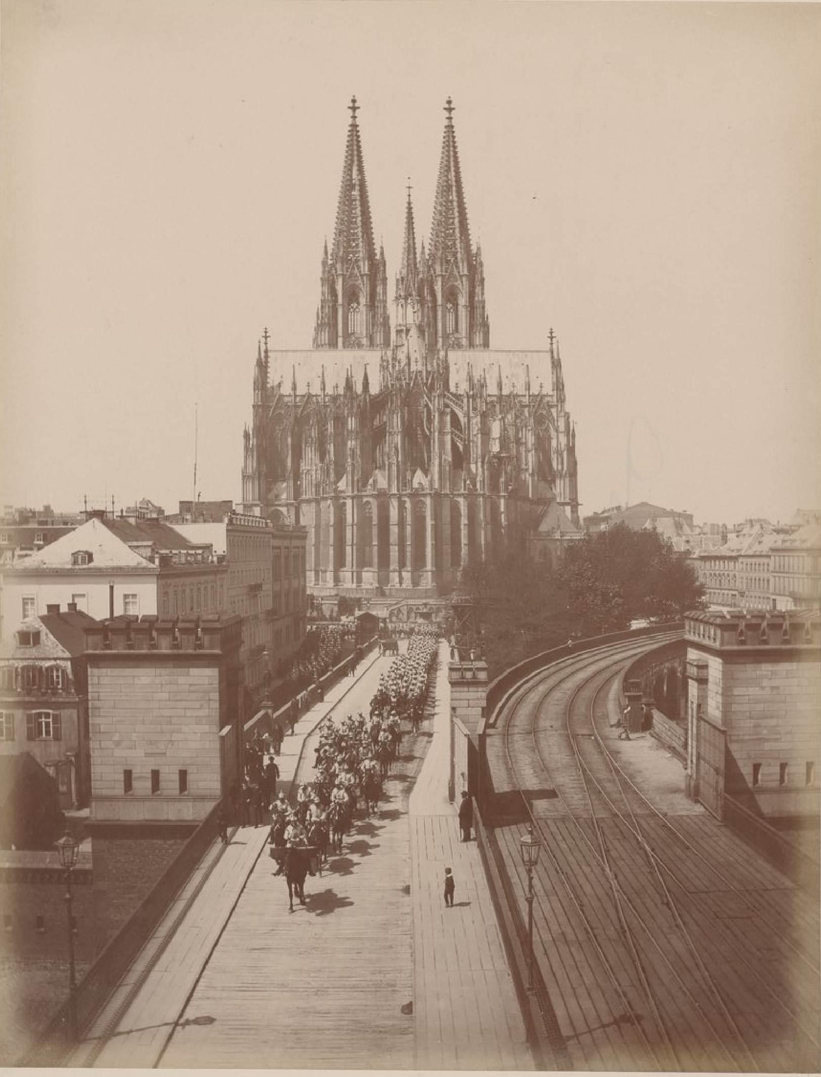 Германия. Кёльн. Мост и апсида собора, 18 мая 1888