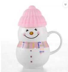 Snow Man With Silicon Lid Ceramic Mug