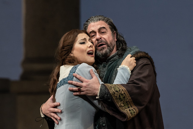 Hrachuhi Bassenz as Amelia Grimaldi and Carlos Álvarez as Simon Boccanegra in Simon Boccanegra, The Royal Opera © 2018 ROH. Photograph by Clive Barda