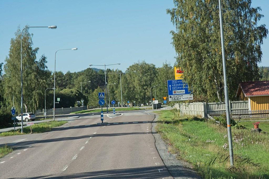 Intersection at Sollefteå town near Multrä TV Mast