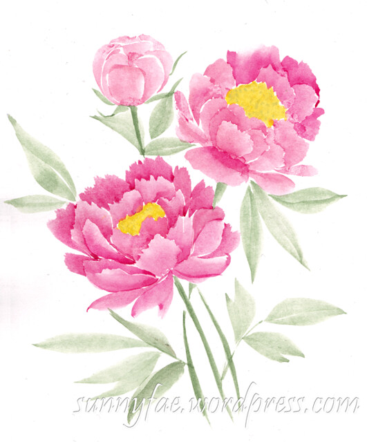 watercolour peonies