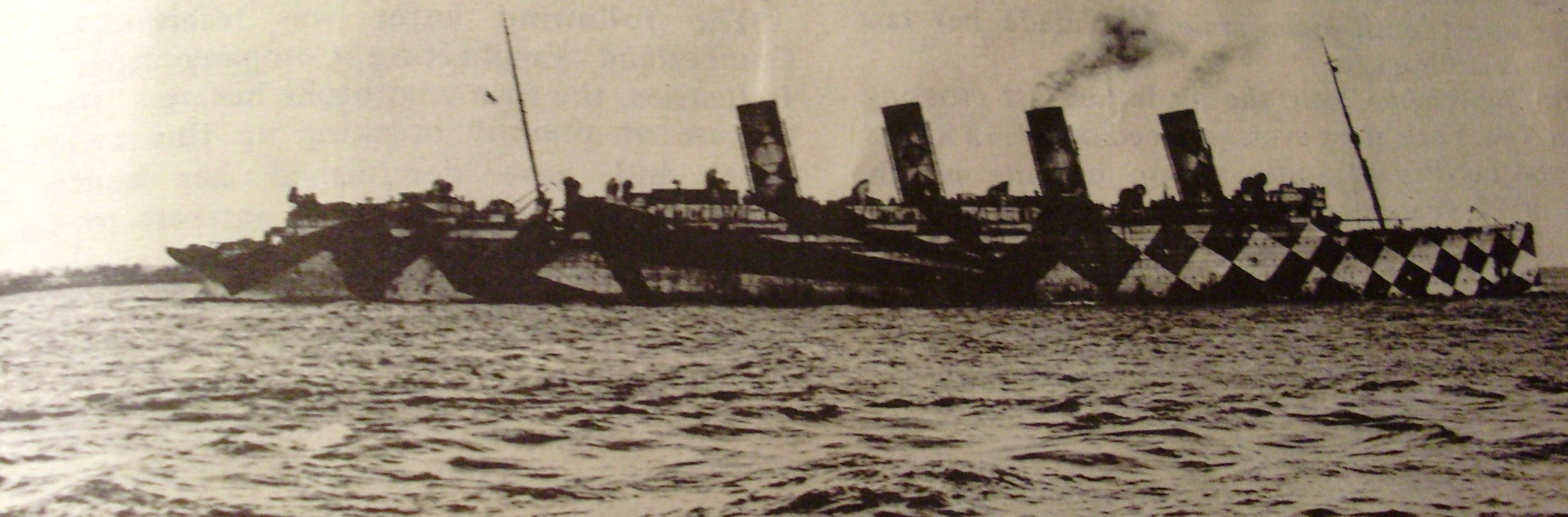 HMT Mauretania with her second geometric dazzle scheme designed by Norman Wilkinson