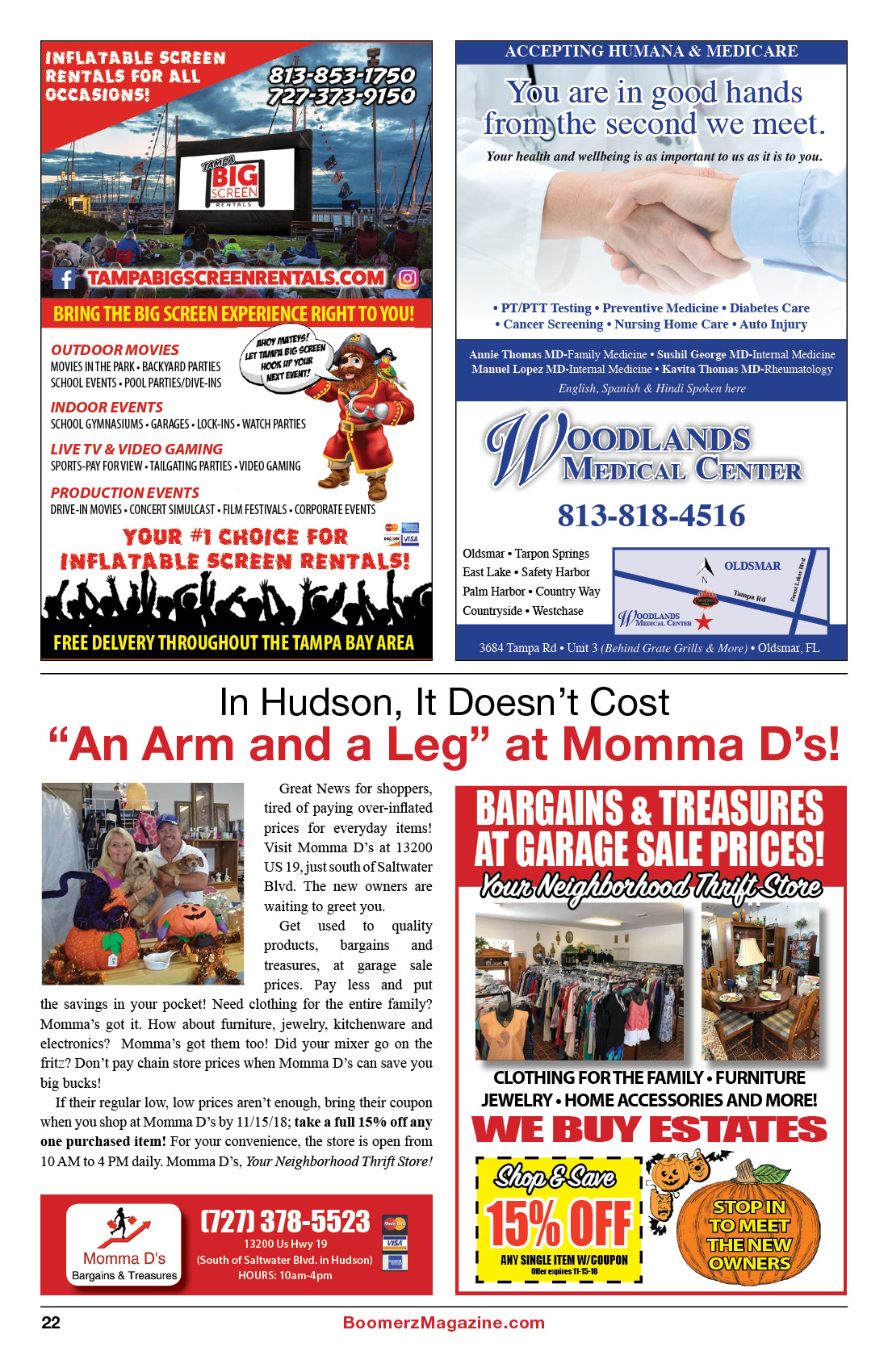 2018 October Boomerz Magazine Page 22 Adds from Momma-D's Woodland-Medical-Center Tampa-big-screen-rentals