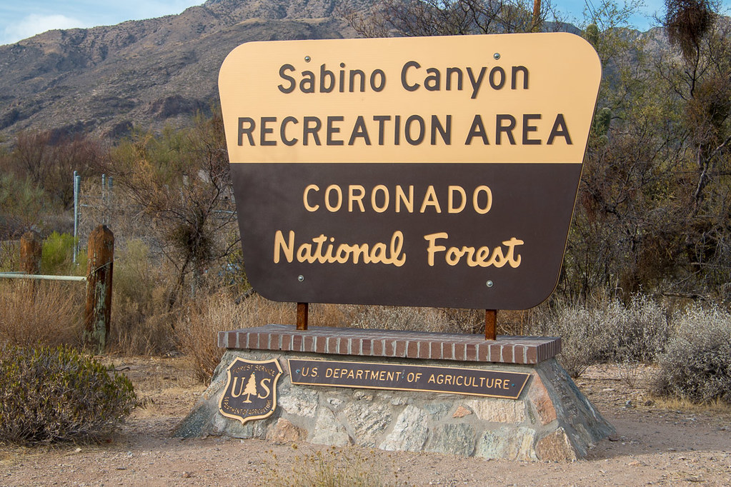 Entrance sign for Sabino Canyon Recreation Area in Coronado National Forest
