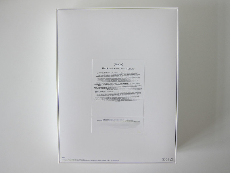 Apple iPad Pro 12.9 Inch (3rd Generation) (Space Grey 256GB) (Wi-Fi + Cellular) - Box Back