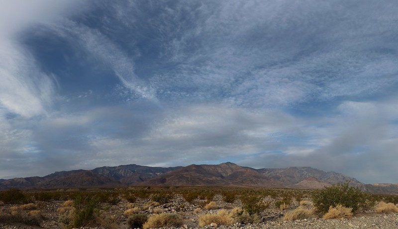 Panorama of high clouds over Telescope Peak from the West Side Road