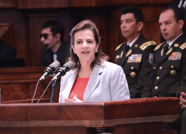 COMPARECENCIA DE LA MINISTRA ROMO ACOMPAÑADA DEL ALTO MANDO